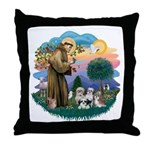 St Francis #2/ Shih Tzus (4) Throw Pillow