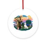 St Francis #2/ S Husky (W) Ornament (Round)