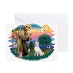 St Francis #2/ S Husky (W) Greeting Cards (Pk of 2