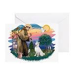 St Francis #2/ S Husky (W) Greeting Card