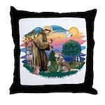 St Francis #2/ S Husky #2 Throw Pillow