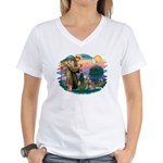 St Francis #2/ S Husky #2 Women's V-Neck T-Shirt