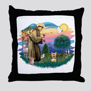 St Francis #2/ Yorkie #17 Throw Pillow