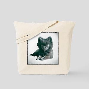 Adorable Black Pomeranian Puppy Tote Bag