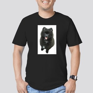 Adorable Black Pomeranian Puppy Dog Men's Fitted T