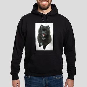 Adorable Black Pomeranian Puppy Dog Hoodie (dark)