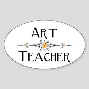 Art Teacher Line Sticker (Oval)
