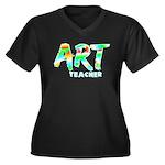 Art Teacher Women's Plus Size V-Neck Dark T-Shirt