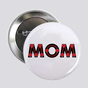Mom Red Hearts Button