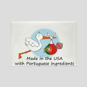 Stork Baby Portugal USA Rectangle Magnet
