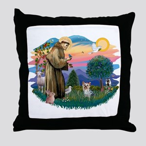 St Francis #2/ Yorkie #13 Throw Pillow
