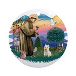 St Francis #2/ Westie Ornament (Round)