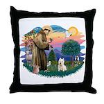 St Francis #2/ Westie Throw Pillow