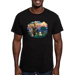 St Francis #2/ Westie Men's Fitted T-Shirt (dark)