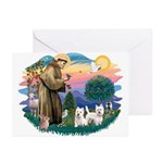 St Francis #2 / Westies (2) Greeting Cards (Pk of