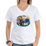 St Francis #2 / Westies (2) Women's V-Neck T-Shirt