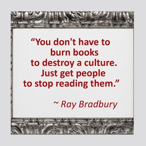 Bradbury on Books Tile Coaster