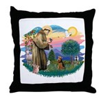 St Francis #2/ Welsh Ter. Throw Pillow