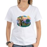 St Francis #2/ Welsh Ter. Women's V-Neck T-Shirt