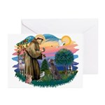 St Francis #2/ Weimaraner #1 Greeting Cards (Pk of