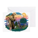 St Francis #2/ Weimaraner #1 Greeting Card
