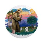 St Francis #2/ Poodle (Toy W) Ornament (Round)