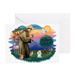 St Francis #2/ Poodle (Toy W) Greeting Cards (Pk o