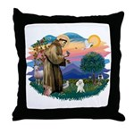 St Francis #2/ Poodle (Toy W) Throw Pillow