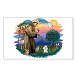St Francis #2/ Poodle (Toy W) Sticker (Rectangle 1