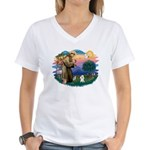 St Francis #2/ Poodle (Toy W) Women's V-Neck T-Shi