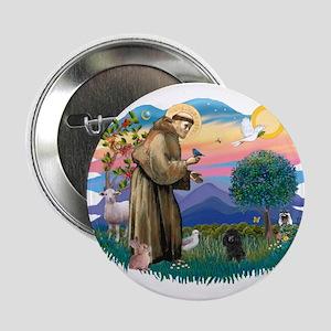 """St Francis #2/ Poodle (Toy blk) 2.25"""" Button"""
