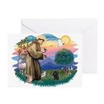 St Francis #2/ Poodle (Toy blk) Greeting Cards (Pk