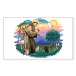St Francis #2/ Poodle (Toy blk) Sticker (Rectangle