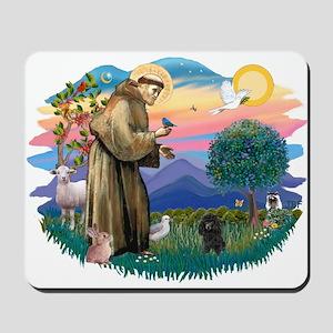 St Francis #2/ Poodle (Toy blk) Mousepad