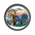 St Francis #2/ Poodle (Toy blk) Wall Clock
