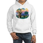 St Francis #2/ Poodle (Toy blk) Hooded Sweatshirt