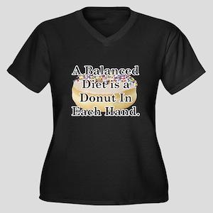 Balanced Donut Women's Plus Size V-Neck Dark T-Shi