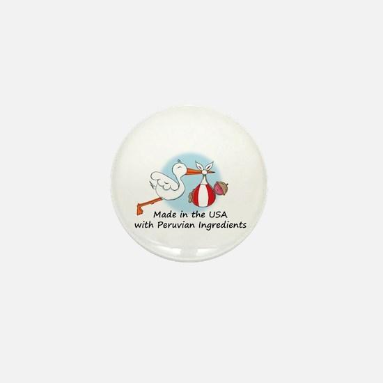 Stork Baby Peru USA Mini Button