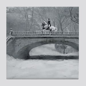 Dressage Horse, Winter Pirouette Tile Coaster