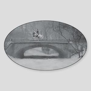 Dressage Horse, Winter Pirouette Oval Sticker