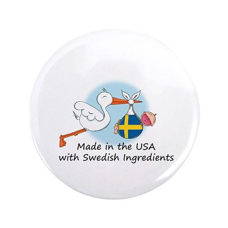 """Stork Baby Sweden USA 3.5"""" Button"""