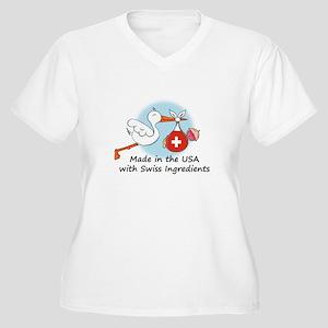 Stork Baby Switzerland USA Women's Plus Size V-Nec