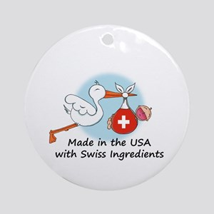 Stork Baby Switzerland USA Ornament (Round)