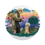 St. Fran. & Bearded Collie Ornament (Round)