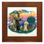 St. Fran. & Bearded Collie Framed Tile