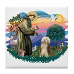 St. Fran. & Bearded Collie Tile Coaster