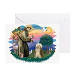 St. Fran. & Bearded Collie Greeting Cards (Pk of 2