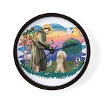 St. Fran. & Bearded Collie Wall Clock