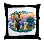 St. Fran. & Bearded Collie Throw Pillow