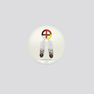 Medicine Wheel w/ Feathers Mini Button